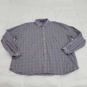 Alan Flusser Casual Shirt Mens XXL Purple Plaid